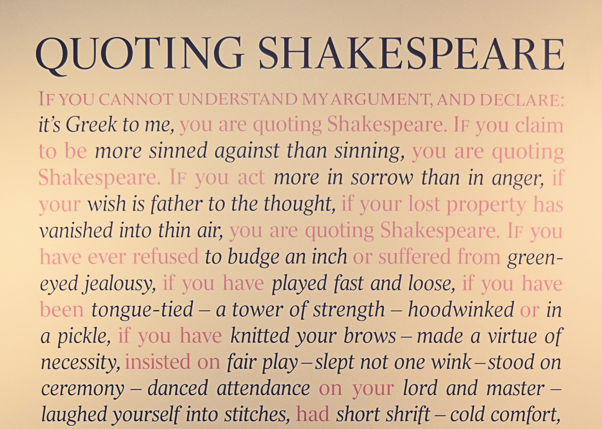 how to quote shakespeare in essays Othello study guide contains a biography of william shakespeare, literature essays, a complete e-text, quiz questions, major themes, characters, and a.