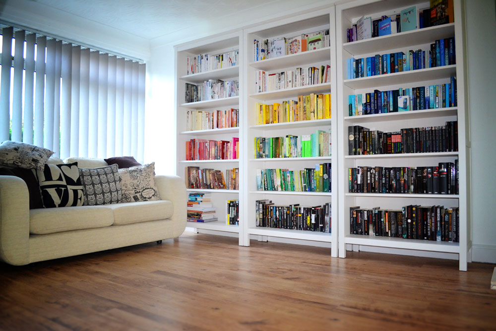 Colour co-ordinated bookshelves