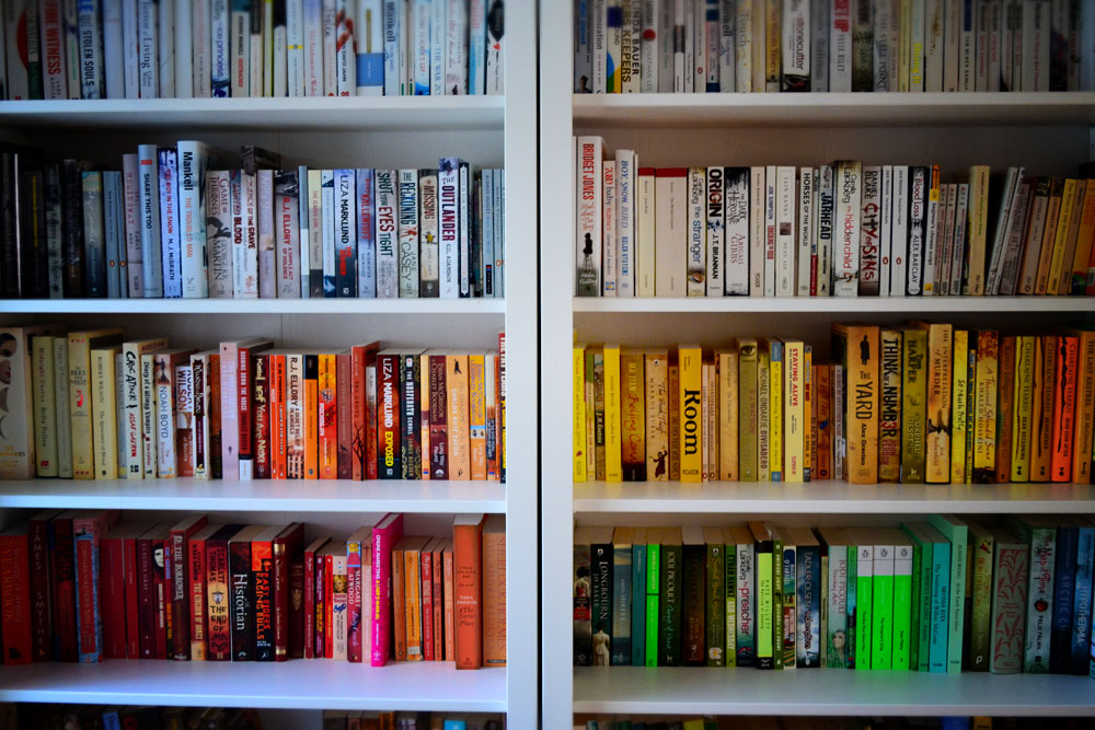 rainbow bookcase - Colored Bookshelves