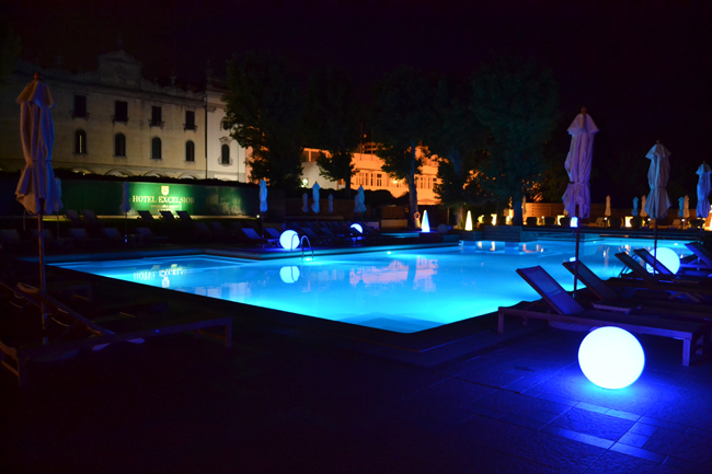 Hotel Excelsior pool at night