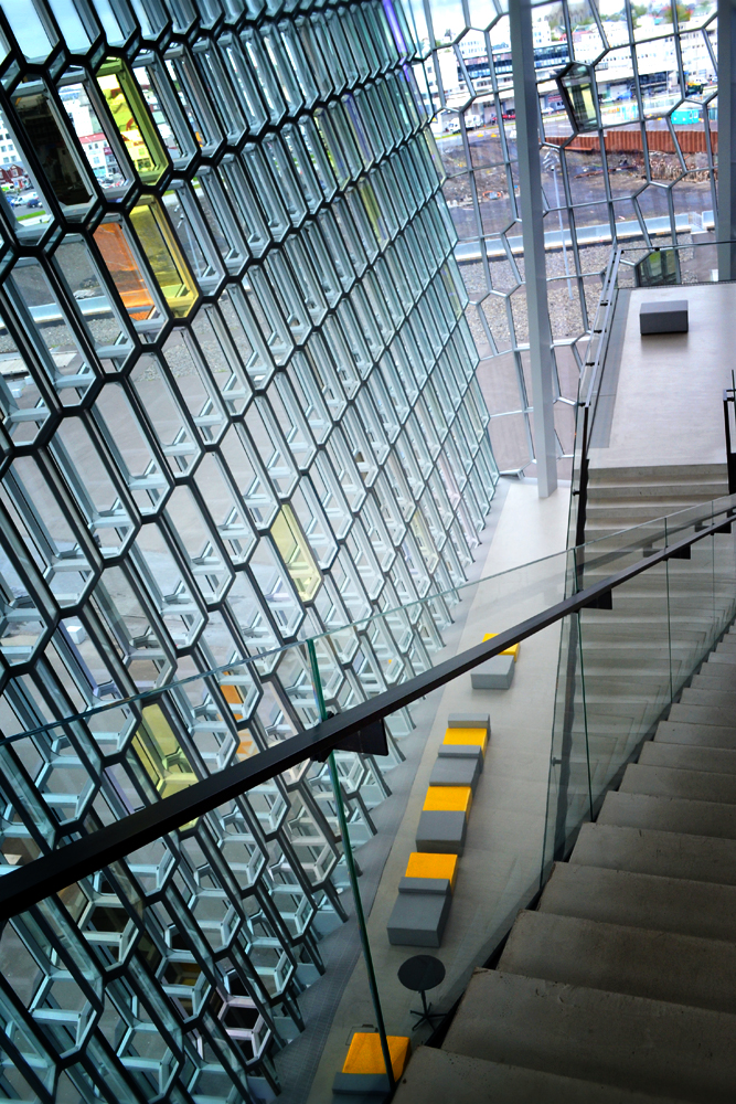At the top of Harpa's stairs