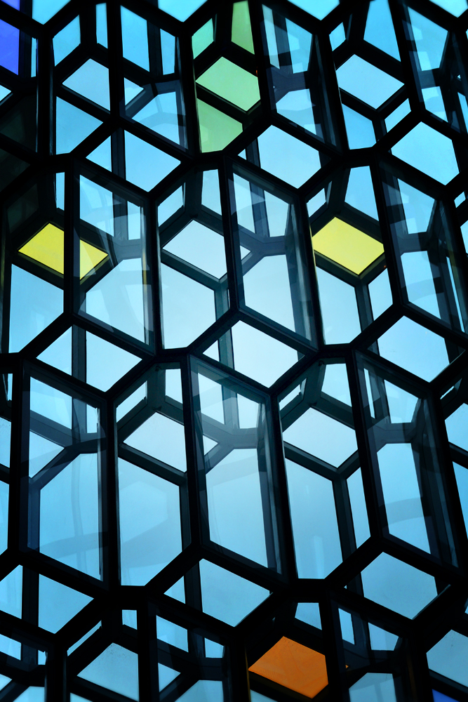 Harpa coloured glass