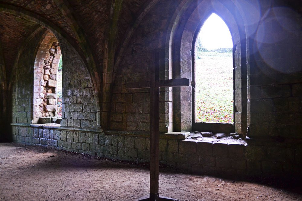 Inside Fountains Abbey cellarium